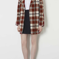 Collarless Check Wool Jacket