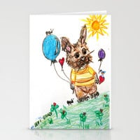 ::  Honey Rabbit on the Knoll :: Stationery Cards by GaleStorm Artworks