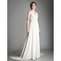 V-Neck Sleeveless Sweep Train Wedding Dress