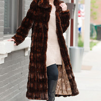 Mahogany Mink Faux Fur Couture Full-Length Coat | Fabulous-Furs