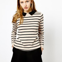 Oasis Stripe Jumper With Collar