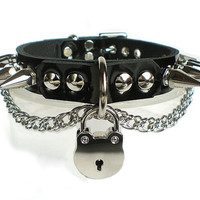 Black Patent Leather Fetish BDSM bondage Collar with Chain, Padlock, Hexagonal Spikes and dee ring/lock