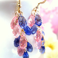 Pink and purple Swarovski chandelier earrings