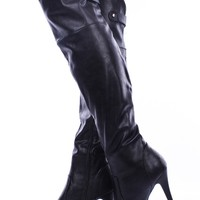 BLACK FAUX LEATHER OVER THE KNEE PLATFORM HEEL BOOTS