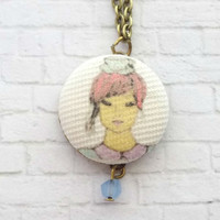 Bronze Chain, Fabric Button Pendant, Screenprinted Necklace, Original Art, Tea Cup, Canvas Rayon Blend, Cute Necklace, Pink Hair, Blue Beads
