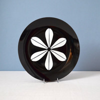 Vintage Cathrineholm Lotus White on Black Plate