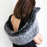 Shrugs Boleros, Gray Fur Shrug, Faux Fur Shawl, Shoulder Wrap, Polyester faux fur Shawl , party, Christmas gift Women
