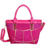 British Style Fashion Casual Vintage Splicing Rivet Tote Crossbody Bag