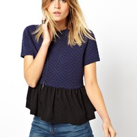 ASOS Peplum Top in Textured Fabric with Woven Hem