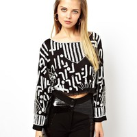 ASOS Crop Top with Graphic Embellishment