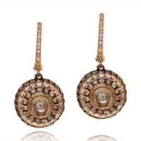 White & chocolate diamond drop earrings