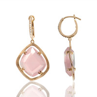 Rose Quartz Diamond Drop Earrings