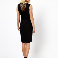 New Look Midi Crepe Lace Back Dress