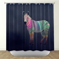 Shower Curtain Artistic Designer from DiaNoche Designs by Arist Monika Strigel Home Décor and Bathroom Ideas - Rainbow Zebra