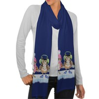 Christmas trio funny Owls watercolor Scarf Wrap