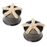 Gold Bling Steel Starfish Plug 2 Pack