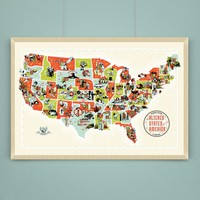 Altered States Fantasy Screen Print Map of the USA