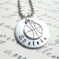 Personalized Basketball Necklace Hand stamped basketball custom necklace sports