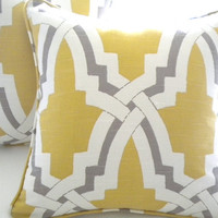 citrus and pewter pillow cover, featured in RACHEL RAY Everyday Living Magazine Linx Bokara Pillow cover, 16X 16 Double Sided with piping
