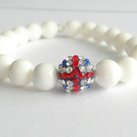 UK Flag Rhinestone Crystal Pave Disco Bead Bracelet with Pure White Tridacna Beads // British Flag Jewelry
