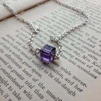 Purple Crystal Cube Solitaire Necklace