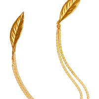 Gilded Leave Chain Headpiece by A La Russe for Preorder on Moda Operandi