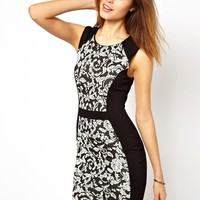 Warehouse Panelled Jacquard Shoulder Dress