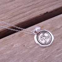 Silver wax seal initial necklace with freshwater pearl, gift for her, Christmas gift, unique gift, bridesmaid gift