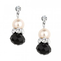 Jon Richard Jet and cream pearl bead drop earring - Jon Richard from Jon Richard UK
