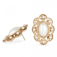 Mood Oval pearl gold stud earring - Mood from Jon Richard UK