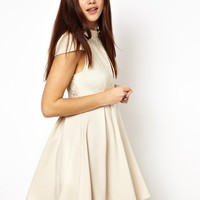 Ginger Fizz High Neck Lace keyhole Skater Dress