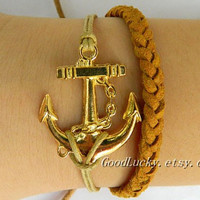 Golden Anchor leather bracelet--Unisex simple fashion Golden Anchor bracelet ,Adjustable brown wax rope braided leather bracelet