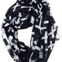 Black Cross Print Scarf
