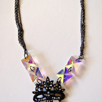 Iridescent Mask Pendant Necklace Gunmetal with Rhinestones and Diamonds Choose Your Length