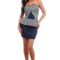 Peplum Striped Strapless Dress