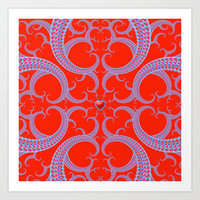 Red Celtic Fractal Art Art Print by Hippy Gift Shop