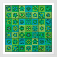 Turquoise and Green Flower Pattern Art Print by Hippy Gift Shop