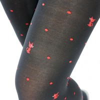 Kawaii Bow Kitty Cat with Dots Tights - Black