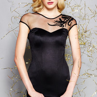 WOW COUTURE Black Cap Sleeve Sheer Neckline Dress