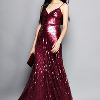 ADRIANNA PAPELL Bordeaux Long Allover Sequin Dress