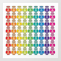 Rainbow Owl Pattern Art Print by Hippy Gift Shop