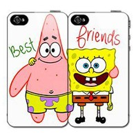 $5.00 OFF Until NEW YEAR'S DAY SALE Best Friends SET (2) Spongebob and Patrick iPhone 4 4s Hard Back Plastic Protective Case Cover