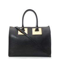 Zip top leather tote