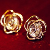 Diamond Heart Rose Fashion Earrings
