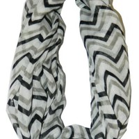 Soft Chevron Sheer Infinity Scarf in Contrasting Colors,One Size,Black/Grey/White