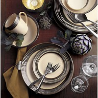 Scavo 16-Piece Set with Swirl Salad Plate: four four-piece place settings with swirl salad plate.