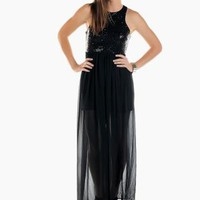 Black Sequin Sleeveless Maxi Dress with Chiffon Skirt