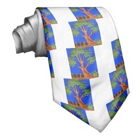 Hakuna Matata Eco Blue Green Acacia Tree. Custom Tie