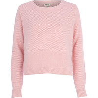 PINK TEXTURED ANGORA JUMPER