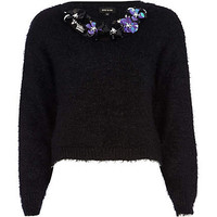 BLACK FLUFFY LUREX SEQUIN FLORAL TRIM JUMPER